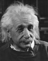 Albert Einstein in 3/4 profile looking directly into camera, n.d.